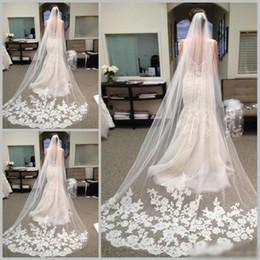 Wholesale 2016 Best Selling Cheapest In Stock Long Chapel Length Bridal Veil Appliques Veu De Noiva Longo Wedding Veil Lace Purfle with Comb