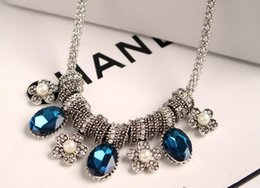 New Women Pendant Necklace Floral Crystal Statement Necklace Choker Necklace Fashion Jewelry for Wholesale Free Shipping