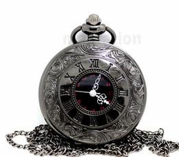Wholesale 100pcs lot black classic Roman Pocket watch vintage pocket watch Men Women antique models Tuo table watch PW026
