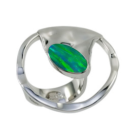 Oval-shaped elegant Japanese opal jewelry handmade 925 silver rings bright rainbow-like rings for lady for R7613