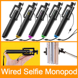 High Quality selfie stick Monopod with cable Foldable monopod mini size For iPhone 6 samsung note4 With Retail Package DHL Free shipping