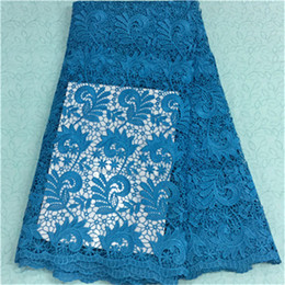 Fashionable sky blue flower african water soluble lace embroidery french guipure lace fabric for party dress BW73-7,5yards pc