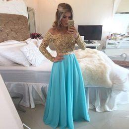 Wholesale Long Sleeve Evening Dresses Applique and Beaded Hot Selling A Line vestidos de festa vestido longo Brush Train Evening Gowns