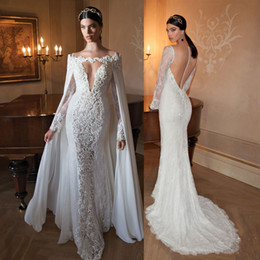 Sexy White Ivory Mermaid Open Back Lace Wedding Dress Bridal Long Sleeves V-Neck Gown Custom Size 4 6 8 10 12 14 16 ++