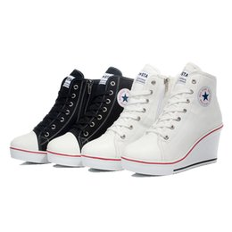 Descuento top zapatos altos zapatos del elevador 2015 Primavera insignia de cuñas de alta lazada casual ascensor zapatos de mujer zapatos de lona de alta cuña, sneakers mujer zapatillas de deporte