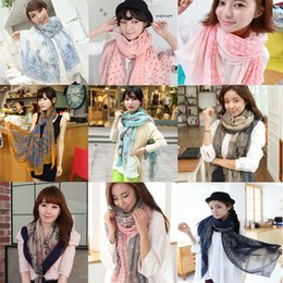 Wholesale new cm Autumn vintage silk scarves women casual gorgeous print scarf shawl wrap Color