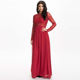 Wholesale-Women's Summer Style Vestidos Straight Solid Color Sexy Full Sleeve Red Black Polyester Lace Plus Size XXXL 4XL 5XL Maxi Dress