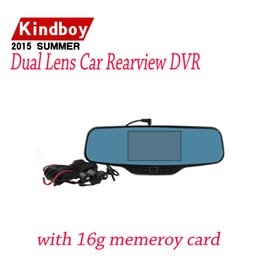 """Cámaras de lentes de porcelana en venta-envío libre dual de la lente del coche dvr retrovisor DVR Espejo cámara HD 720P 30FPS 12.0mp CMOS 4.3 """"LCD 170 grados Ángulo de visión"""