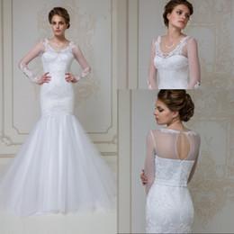 Custom Made Mermaid Jewel Floor Length White Organza Long Sleeve Wedding Dresses Appliques Lace Zipper Back Most Popular Bridal Gowns