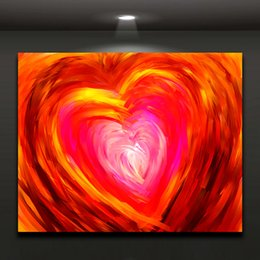 Wholesale Abstract Big Red Heart Oil Painting Printed on Canvas Modern Mural Art Drawing for Home Hotel Cafe Wall Decor