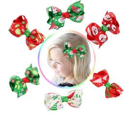 Christmas Baby Girls Hair Clips Grosgrain Ribbon Hair Bows Children Hair Accessories Baby Hairbows Girl Hair Bows