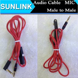 Wholesale 3 mm Replacement Red Cables for Beats Studio Heaphones with Control Talk and MIC L Plug Extension Audio AUX Cable for SOLO MIXR