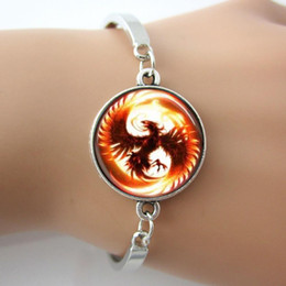 Wholesale Phoenix Mythical Fire Bird Glass Dome Game Bracelets Bangle Plated Antique Silver Round Charm Rhodium Plated Bangles New