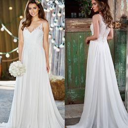 Wholesale Amanda Wyatt Maternity Wedding Dresses A Line Spaghetti straps Sweep Train Chiffon Lace Bridal Gowns New Arrival W6240
