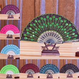 Wholesale Embroidery Flowered Chinese Fans Craft Handmade Fan Wedding Bridal Accessories Holding Fan Bones Colors Spain Hot Style WFS001
