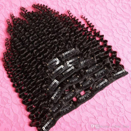 Wholesale Brazilian nature a Grade nature Human Hair Afro Kinky Curly Clip In Hair Extensions Set G Clip Ins Weave for piece