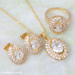new 2015 Top Quality white Cubic Zirconia topaz jewelry Sets Pendant Ring Earrings 18K Yellow Gold Plated for women S084