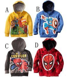 Wholesale Kids Superman Winter Coats - autumn children Cardigan coat kids cotton superman jackets child kids cartoon spiderman zipper coats for baby boys Thomas Train Jacket