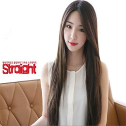 Wholesale cheap wigs synthetic lace front wig heat resistant straight cm long black female korean fashion hair