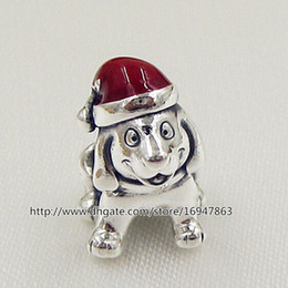 100% S925 Sterling Silver Christmas Puppy Charm Bead with Red Enamel Fits European Pandora Style Jewelry Bracelets Necklaces & Pendant