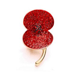Rose Gold Tone Red Emerald Rhinestone Crystal Diamante Remembrance Gift Small Size Red Flower Poppy Brooches and Pins