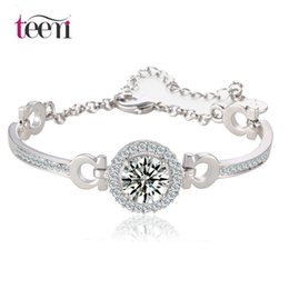 Wholesale Teemi Jewelry New Charm Bracelets Bangles Hearts Arrows Perfect Cut Karat Cubic Zirconia Round CZ Stone White Gold Plated