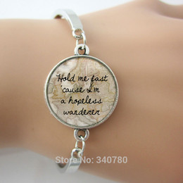 Wholesale Hold me fast cause I m a hopeless wanderer bangle gray photo BACKGROUNDS glass cabochon dome antique silver plated bangles hot