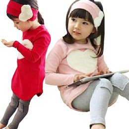 Wholesale red and pink clothes Love full dress t shirt patch legging hair bands three pieces set autumn big girls clothing red pink cotton in stock