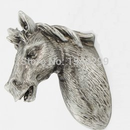Wholesale Horse head shaped Metal Antique Silvery furniture Knobs handles pull for doors cabinets special style furniture handles
