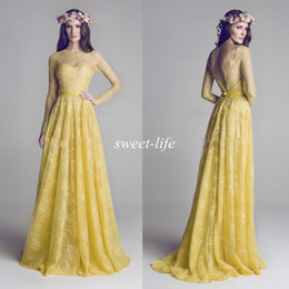 Wholesale Hamda Al Fahim Evening Dresses with Long Sleeve Sheer Bateau Neck Backless A Line Yellow Lace Formal Gowns Long Bridesmaid Prom Dresses