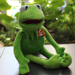 Wholesale EMS Sesame Street The Muppets Kermit Stuffed Plush Dolls Toys with T shirt Frog plush toy doll for gift with iron wire CM E604