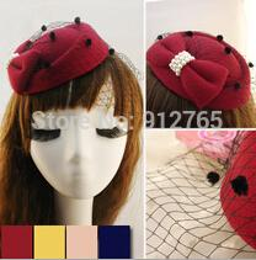 Wholesale MisS Linda New Girls Women pearl Topper Woolen gauze beret headdress hair clip Stage hat children hair accessories