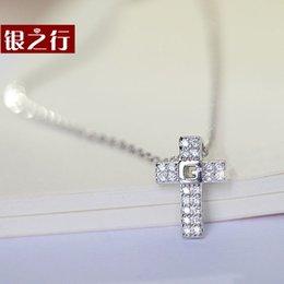 Croix d'argent en Ligne-Silver Line S925 Silver Cross collier coréenne modèles féminins clavicule courte mode estivale petit cadeau frais