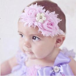 Top Baby Shabby flower Headbands With Pearl Rhinestone Elastic Headband Hair Accessories Infant Christmas Chiffon Drill Hairbands