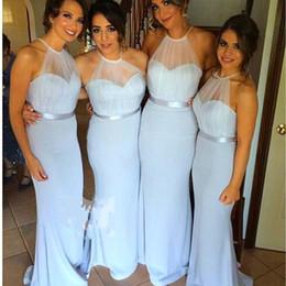 Cheap Mermaid Wedding Bridesmaid Dresses Halter Neck Sleeve Mermaid Wedding Party Dresses Plus size Maid of Honor Dresses Free Shipping