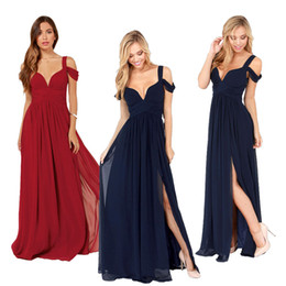 Cheap In Stock 2019 New Off Shoulder A Line Split Side Long Chiffon Fashion Sexy Dark Navy Wine Red Dresses For Prom Pageant Party Gowns