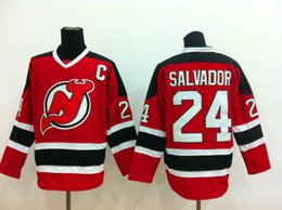 Wholesale Cheap Ice Hockey Jerseys NJ Devils Bryce Salvador Red With Black Home Hockey Jersey Stitched Authentic Jersey