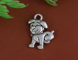 Vintage Silver Lovely Dog Charms Pendants For Women Dress Bracelet Necklace Fashion Jewelry Making Girls Bijoux Accessories 100PCS A 27