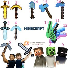 Wholesale Minecraft Foam Diamond Sword and Pickaxe Combo Set weapons EVA axe soft diamond pick Gold Grey Blue minecraft models J120304