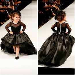 Cupcake Princess Ball Gown Black Taffeta High Low Girl Pageant Dresses with Long Sleeves Fashion Kids Formal Wear Prom Gowns
