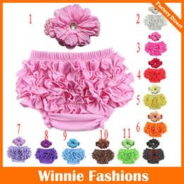 12 Colors Baby Girls Ruffle Bloomer Headband Set (TUTU underwear+diamond flowear Headwear) Infant cake bloomers shorts pants diaper covers