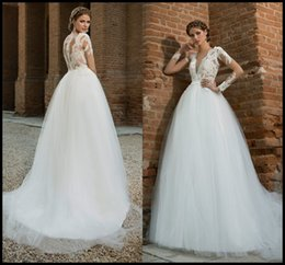 Wholesale 2016 Long Sleeves Wedding Dresses A Line Tulle Deep V Neck With Lace Appliques Sweep Train Modest Wedding Dress Bridal Gowns Vestidos XP