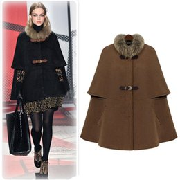 Wholesale Hot Sell Cap Poncho Winter Womens Double Breasted Cape Batwing Wool Blend Poncho Belted Jacket Female Lady Winter Warm Cloak Coats