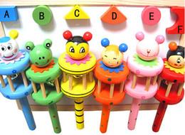 Baby Rainbow Toy kid Pram Crib Handle Wooden Activity Bell Stick Shaker Rattle TOP28