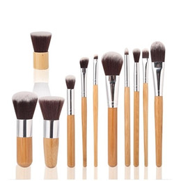 Wholesale 11pcs Professional High Quality Bamboo Makeup Brush Set Goat Hair Cosmetic Makeup Brushes Kit With Bag Make Up Tools Portable Cosmetic Brush