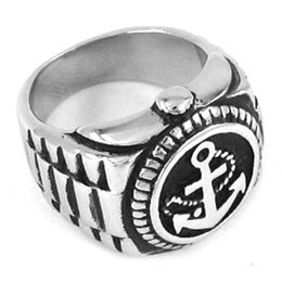Free shipping! Anchor Signet Ring Stainless Steel Jewelry Imitation Watch Shape Ring Motor Biker Men Ring SWR0244