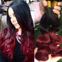 Cheap Peruvian Virgin Hair Body Wave Ombre Hair Extensions Two Tone Colored Human Hair 4PCS 1B Burgundy Wavy Remy Ombre Remy Hair Weaving
