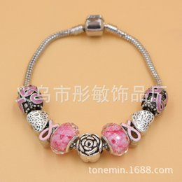 Acheter en ligne Ruban rose sein-2016 New sensibilisation au cancer du sein d'arrivée sein Bracelets interchangeables Pink Ribbon bricolage Bracelet cancer Bijoux bateau libre
