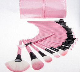 32pcs Professional Makeup Brushes Make Up Cosmetic Brush Set Kit Tool + Roll Up leather Case christmas gifts