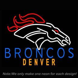 Wholesale Denver Broncos Alternate Neon Sign Beer Pub Display Handcraft Real Glass Tube Neon Bulb Recreation Room Neon Signs x15